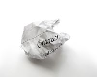 Crumpled contract Stock Photography