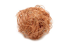 Crumpled copper wire. On white background Stock Photos