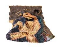 Crumpled costurou o lenço do batik de seda marrom foto de stock royalty free