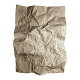 Crumpled craft paper sheet. Brown paper textures isolated on white background. Stock Photography
