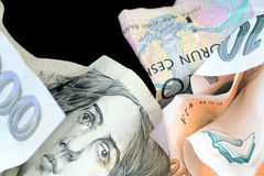 Crumpled Czech banknotes. Royalty Free Stock Photography