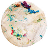 Crumpled dirty disposable plate Royalty Free Stock Image