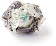 Crumpled dollar. Photographed on a white background stock images