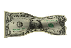 Crumpled Dollar Bill. Crumpled one dollar bill isolated in white royalty free stock image