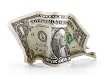Crumpled dollar bill  on white Royalty Free Stock Photo