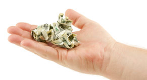Crumpled Dollar Bills In Palm Royalty Free Stock Image