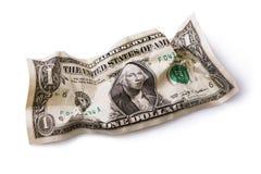 Crumpled dollar isolated. On white background royalty free stock photo