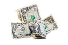 Crumpled dollars Stock Image