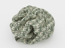 Crumpled dollars on white Royalty Free Stock Photos
