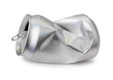 Crumpled empty blank can, Realistic photo image. Crushed soda or beer can on white royalty free stock photos