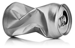 Crumpled empty can. Crumpled empty blank soda or beer can garbage on white background with clipping path royalty free stock photography
