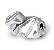 Crumpled empty can Stock Photography