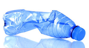 Crumpled empty plastic bottle Royalty Free Stock Images
