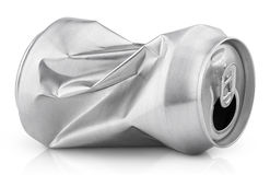 Crumpled empty soda or beer can isolated on white Royalty Free Stock Images