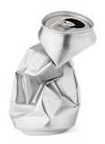 Crumpled empty soda or beer can isolated on white. Crumpled empty blank beer can garbage isolated on white background with clipping path stock photo