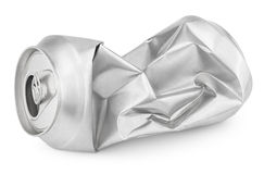 Crumpled empty soda or beer can isolated on white. Crumpled empty blank soda or beer can garbage isolated on white background with clipping path royalty free stock photos