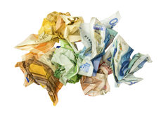Crumpled Euro banknotes Royalty Free Stock Photos