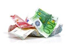 Crumpled euro money. On white royalty free stock photography