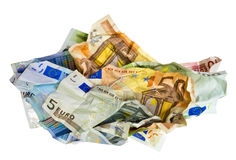 Crumpled European banknotes Royalty Free Stock Photos