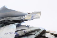 Crumpled Euros banknotes Stock Images