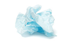 Crumpled facial tissue paper. Crumpled blue facial tissue paper on white background Royalty Free Stock Image