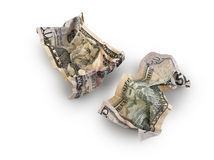 Crumpled fifty dollar bill isolated Royalty Free Stock Photos