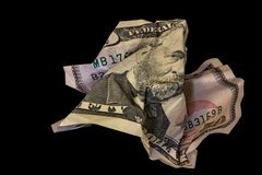 Crumpled fifty dollar bill isolated on black background royalty free stock photos