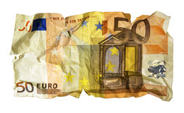 Crumpled fifty Euro banknote Stock Image