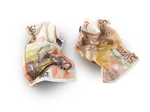 Crumpled fifty euros bill isolated Stock Photography