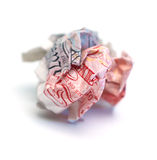 Crumpled Fifty Pound Note. Scrunched discarded UK fifty pound note on white background Stock Photo
