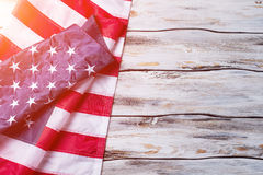Crumpled flag of US. Royalty Free Stock Photography