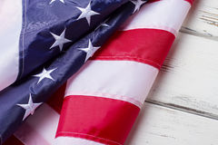 Crumpled flag of USA. Royalty Free Stock Images