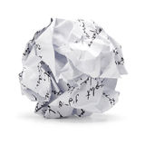 Crumpled of free hand script Junk paper in ball shape. A screwed up piece of writing text paper ., Junk sheet paper can be recycle isolated on white background Royalty Free Stock Image