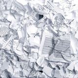 Crumpled garbage paper ready to throw away Royalty Free Stock Photo