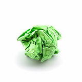Crumpled green papers. Crumpled green papers into a ball on white background Royalty Free Stock Photo