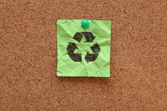 Crumpled green Recycling symbol Royalty Free Stock Images