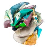 Crumpled hand painted batik silk scarf isolated Royalty Free Stock Images