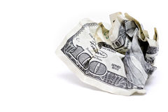 Crumpled hundred dollar bill Royalty Free Stock Photography