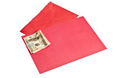 Crumpled Hundred Dollar Bill Inside Blank Red Greeting Card Stock Image