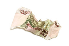 Crumpled hundred ruble banknote Royalty Free Stock Photography