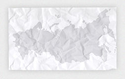 Crumpled map. Of Russia monochrome stock illustration