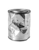 Crumpled Metal Can isolated on white background clipping path Royalty Free Stock Photos