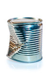 Crumpled metal tin can on  white background Royalty Free Stock Images