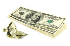 Crumpled money. Crumpled 100 american dollars isolated Stock Photography