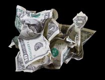 Crumpled money on black background Stock Photography