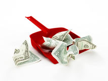 Crumpled money in dust pan Stock Photography