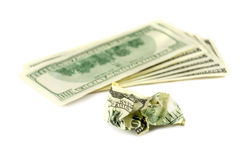 Crumpled money. Crumpled one hundred dollars banknote Royalty Free Stock Photography