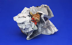 Crumpled Newspaper. Isolated crumpled newspaper Stock Image