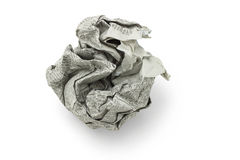 Crumpled newspaper ball. Crumpled newspaper in shape of ball on white background stock image