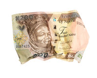 Crumpled nigerian banknote Stock Photos
